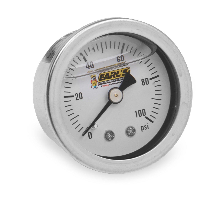 Earl's Performance 100187ERL Oil Pressure Gauge Oil Filled 100 PSI Oil Pressure Gauge Earl' s Performance