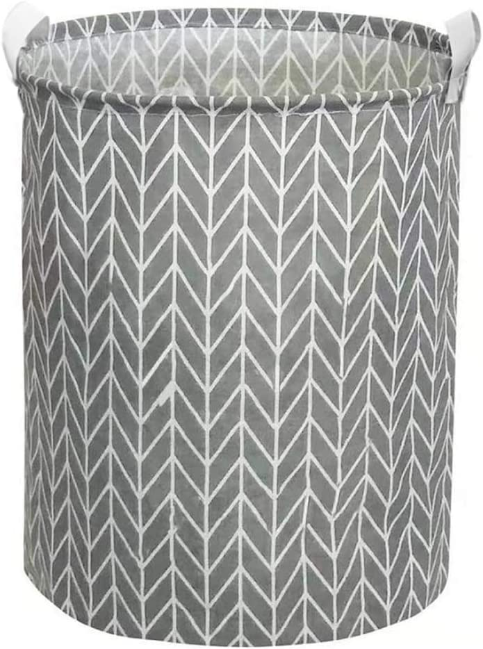 Large Collapsible Laundry Baskets, Storage Bin with Durable Handle and Waterproof Coating Foldable Laundry Hamper for Bedroom Clothing Organization, Gift Baskets, Home Organizer, Round Cotton Linen