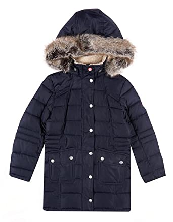 81d7aa510feb7 Barbour Girls Landry Long Quilted Coat, Navy Blue, XS: Amazon.co.uk ...