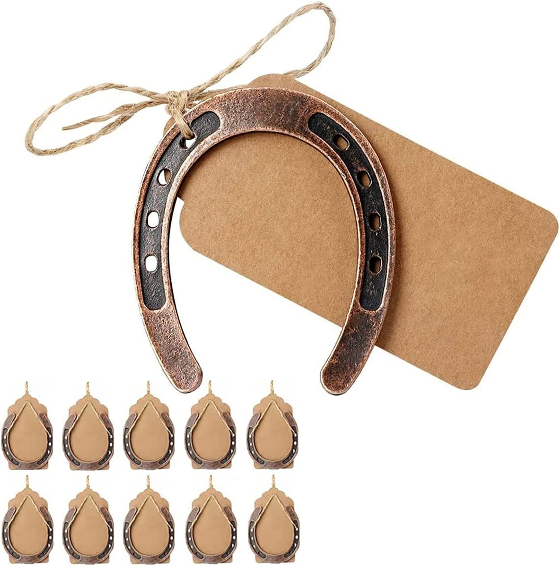 HDFSP 10pcs Lucky Horseshoe Wedding Favors with Kraft Tag, Vintage Metal Mini Horseshoe Decorations for Rustic Wedding Birthday Party Decorations