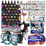 PointZero Complete Airbrush Nail Art Kit - 48 Paint 480 Stencil Set