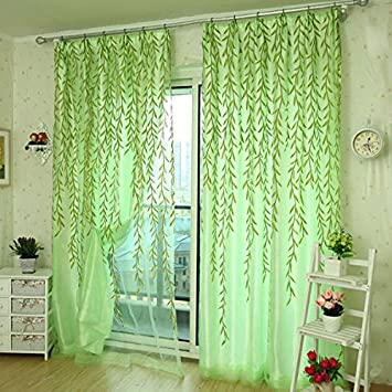 100 X 200 Cm Grün Blätter Voile Fenster Sichtschutz Balkon Schlafzimmer  Fenster Vorhang (zufällige: