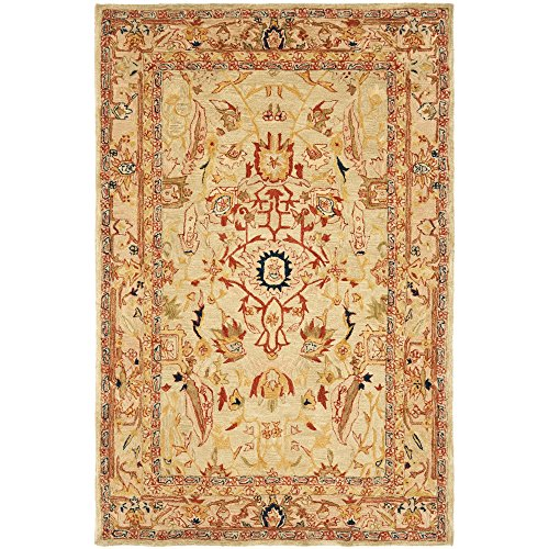 Safavieh Anatolia Collection AN514A Handmade Traditional Oriental Ivory and Beige Wool Area Rug (6′ x 9′)