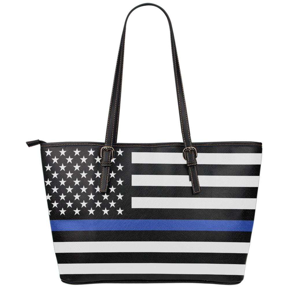 Printed Kicks Thin Blue Line Large Leather Tote Bag Police Wife Handbag Travel