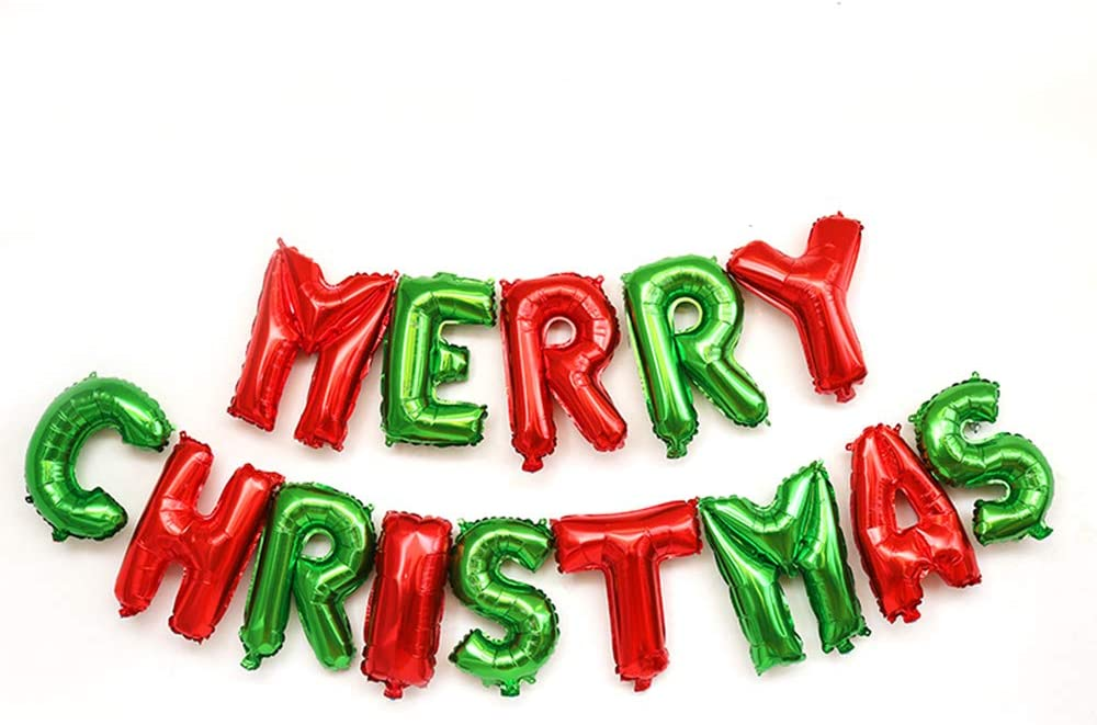 Merry Christmas Balloons Banner 16 Inch Foil Letters Inflatable Party Decor and Event Decorations Supply (Green & Red)
