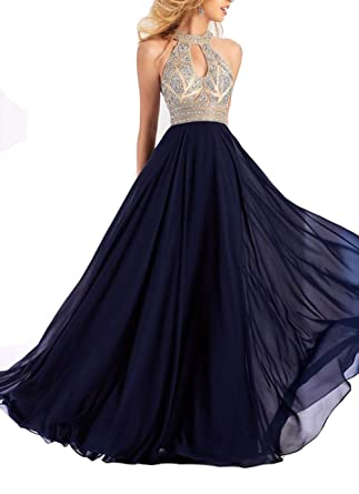 Womens Chiffon Halter Prom Dresses Long Beading Hollow Party Gown 2018 Sequins Chiffon Eveing Dress