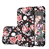 Harsel Vintage Floral Flowers Print Dual Layer Rugged Hybrid Armor Hard Plastic Soft Rubber Shockproof Bumper High Impact Full Body Durable Case Cover Shell for iPhone 6s / 6 (Red Black)