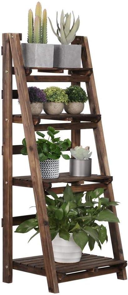 Yaheetech 4-Tier Foldable Wooden Ladder Shelf Plant Flower Ladder Shelf Stand Rack Decorative Ladder Book Magazine Holder Storage