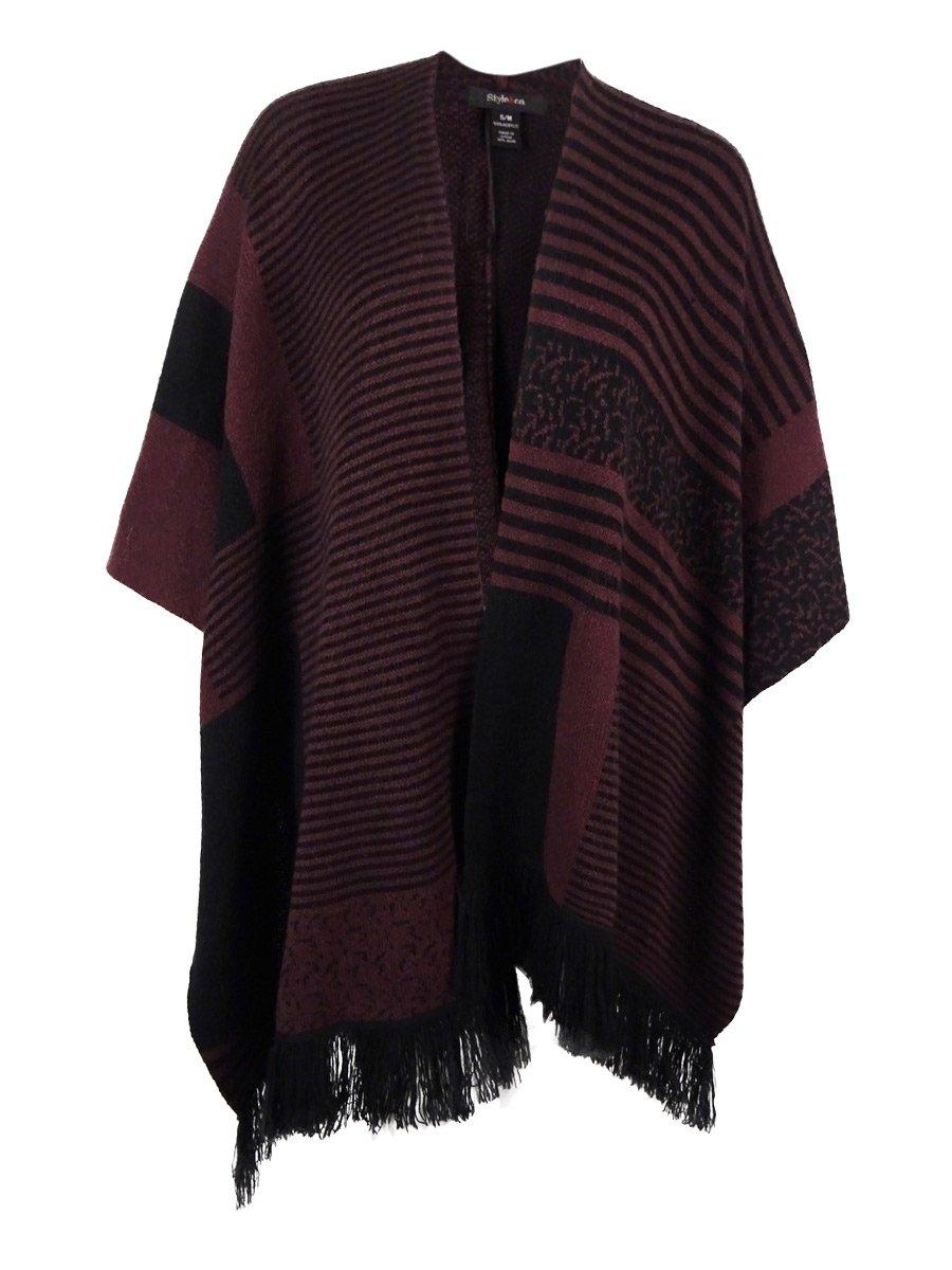 Style & Co. Womens Plus Fringe Open Front Cardigan Sweater Purple 0X/1X