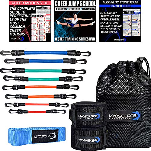 Kinetic Bands Cheer Flexibility Fitness Training Kit for Cheerleaders - Leg Resistance Bands, Stunt Strap, Digital Training Downloads (User Weight is More Than 110 lbs (50 kg) Blue Stunt Strap)