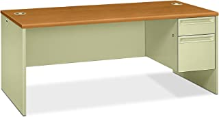 product image for HON Right Pedestal Desk with Lock, 72 by 36 by 29-1/2-Inch, Harvest/Putty