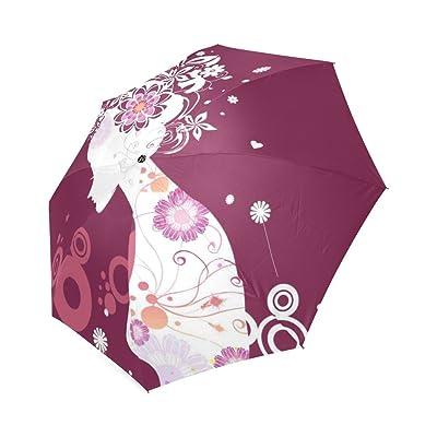 Customized Unique Girl Outline Folding Rain Umbrella/Parasol/Sun Umbrella