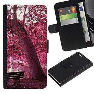 LECELL--Cuero de la tarjeta la carpeta del tirón Smartphone Slots Protección Holder For Apple Iphone 5 / 5S -- Red Forrest Park --