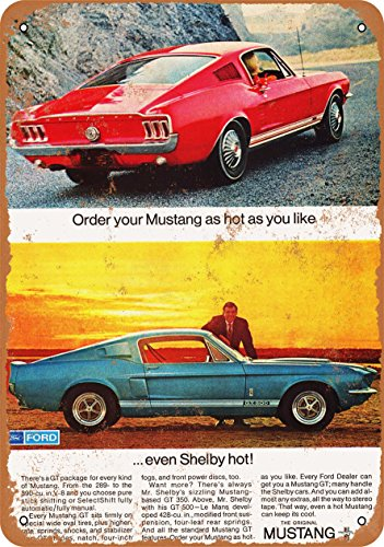 (Wall-Color 9 x 12 Metal Sign - 1967 Ford Mustang Shelby GT500 - Vintage Look)