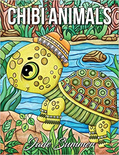 Chibi Animals An Adult Coloring Book With Adorable Cartoon Cute Nature Scenes And Relaxing Patterns For Animal Lovers Jade Summer