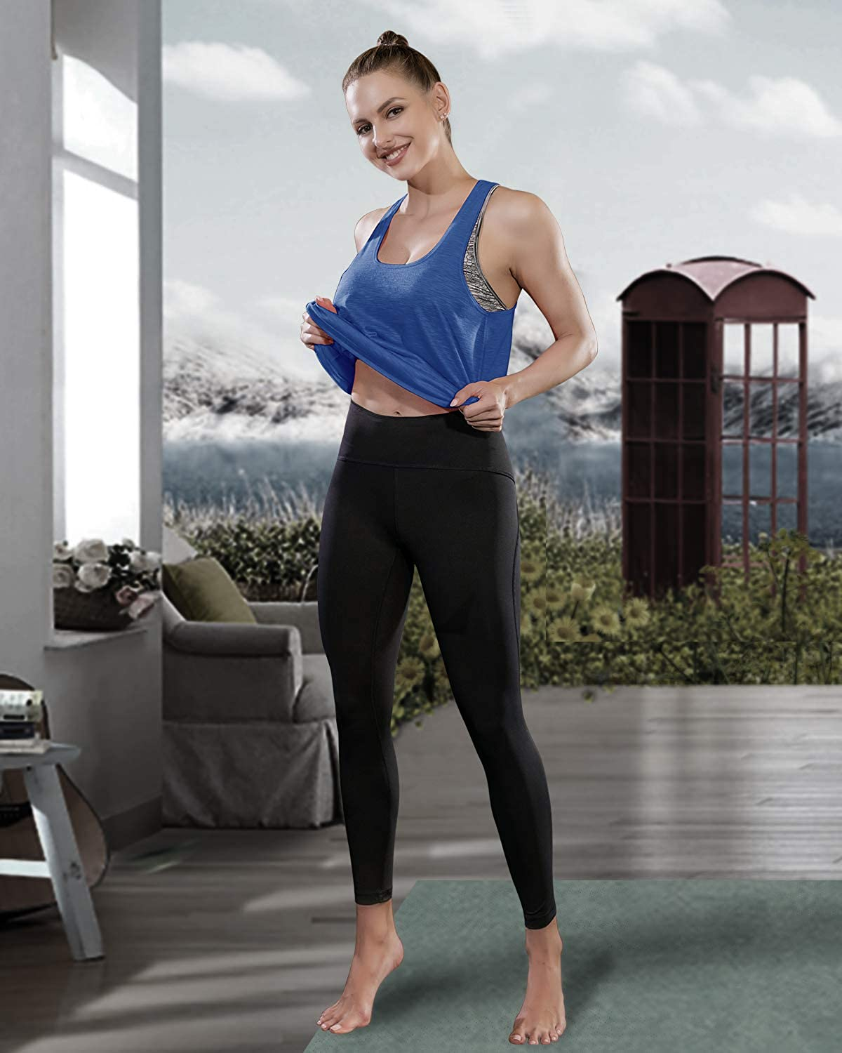 Workout Tops for Women with Built in Bra Tanks Activewear Yoga Running Shirt