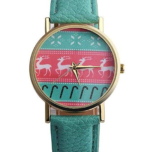 Scpink Mujeres, patrón de Navidad, Relojes analógicos para Mujer, Relojes de niña,