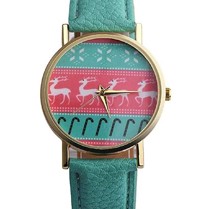 Scpink Mujeres, patrón de Navidad, Relojes analógicos para Mujer, Relojes de niña, Relojes de Cuero para Mujeres (Verde): Amazon.es: Relojes