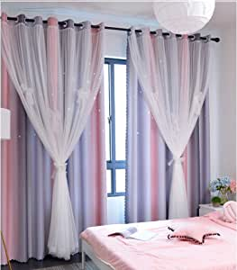 Yancorp 63 inch Length Room Darkening Blackout Pink Rainbow Curtains for Girls Bedroom Kids Room Ombre Window Panels Living Room (Pink Grey, W52 X L63)
