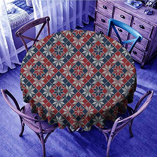 ScottDecor Nordic Wrinkle Free Tablecloths Wool Knit Pattern with Tartan Geometric Stripes Flower Figures Print Outdoors Round Tablecloth Ruby Dark Blue Coconut Diameter 70
