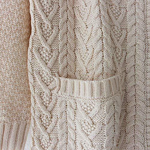Giacca Maglioni Donna Tasche Comodo Moda Outwear Abbigliamento Maglieria Giorno Maglia V Monocromo Pullover Single Autunno Beige Casual Anteriori neck A Manica Lunga Breasted qrxrIUcC1w