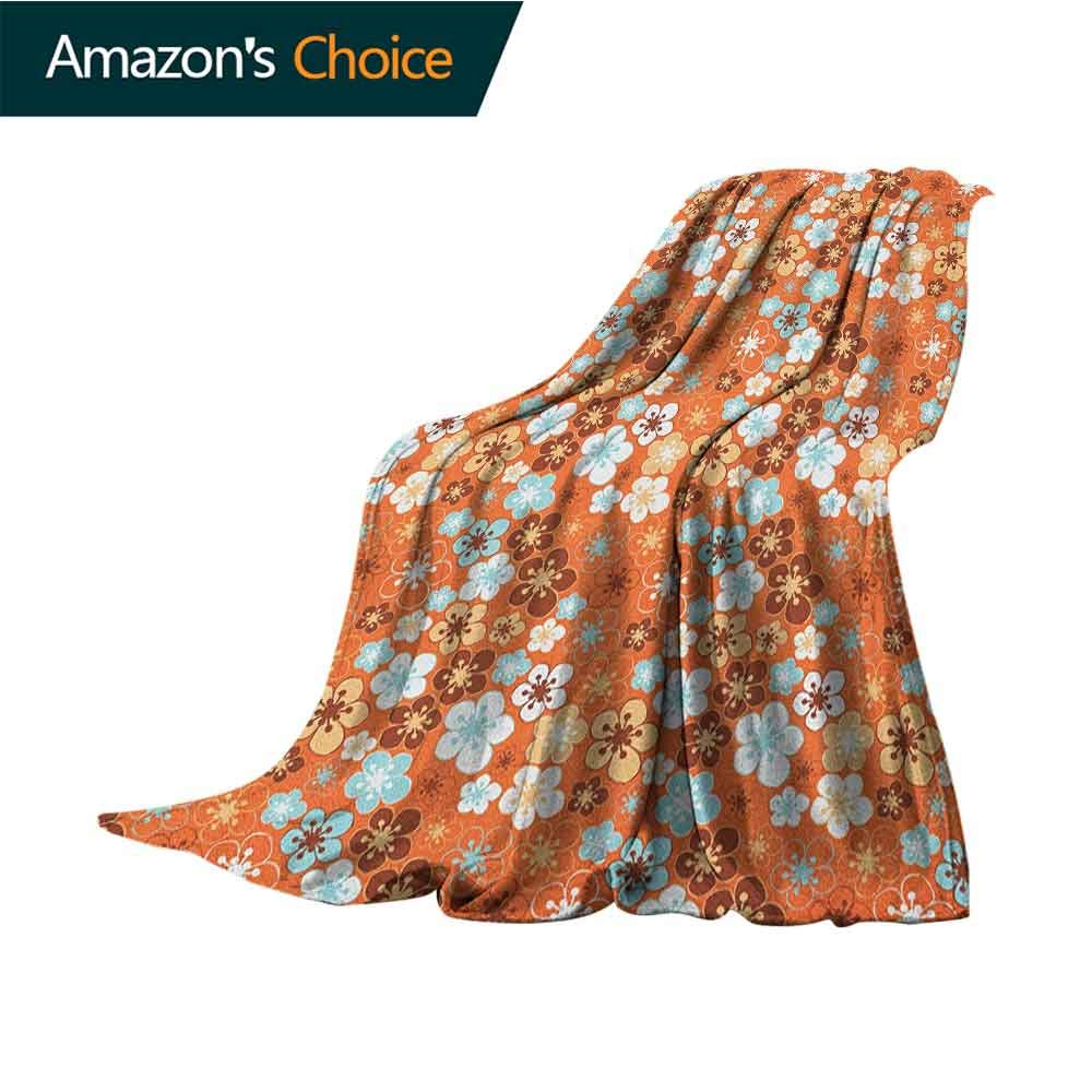 Orange Children's Blanket,Cute Old Fashioned Doodle Flora Abstract Blooming Meadow in Summer Theme Soft Fabric for Couch Sofa Easy Care,50'' Wx70 L Sky Blue Orange Brown