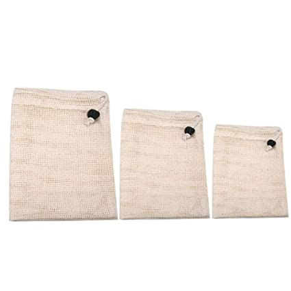 AiBarle Bolsas de algodón orgánico Vegetal, 3 Pack ...