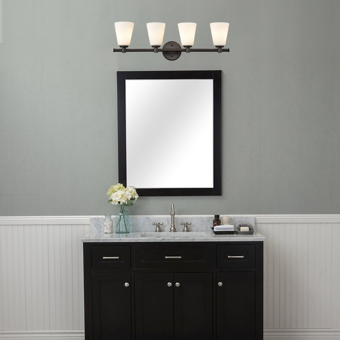 AXILAND Vanity Lighting 4 Light Oil Rubbed Bronze Wall Sconce with Opal Glass Shade by AXILAND (Image #3)