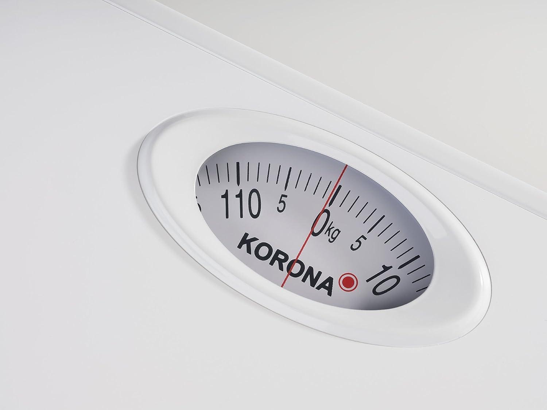 Korona Ben - Báscula de baño (Báscula de baño analógica, 130 kg, 1 kg, kg, Plaza, Blanco): Amazon.es: Hogar