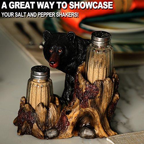 ARAIDECOR Curious Black Bear Salt and Pepper Holder Sculpture Home Décor or Restaurant Setting Statue - 6 x 6 Inches (Black Bear) by ARAIDECOR (Image #2)