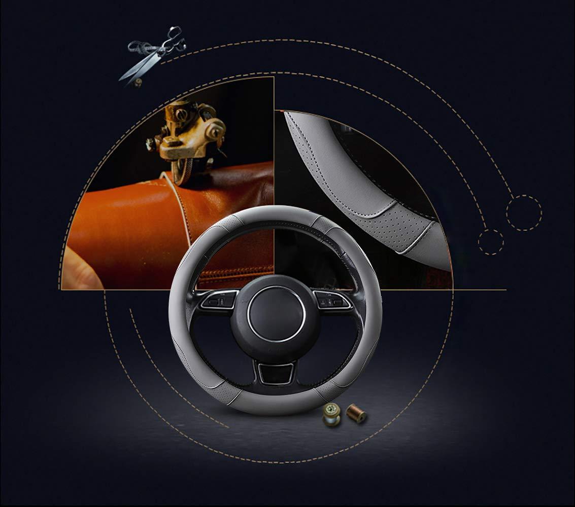 Couleur Beige 15 Antid/érapant Respirant Durable SFONIA Couvre Volant Voiture Caches de Volant en Cuir Microfibre Universel 37-38cm