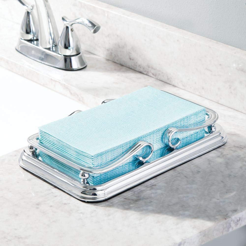 Sturdy Holder with Non-Skid Base and Scroll Design for Bathroom Vanity Countertops mDesign Decorative Metal Guest Hand Towel Storage Tray Dispenser Chrome