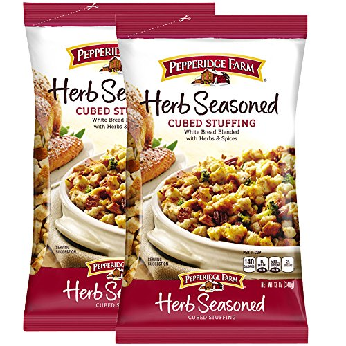 Pepperidge Farm Herb Seasoned Cubed Stuffing Pack of 2, 12 Oz Bag | White bread Blended With Herbs & Spices | Turkey Poultry Casserole | Holiday Thanksgiving Christmas Dinner