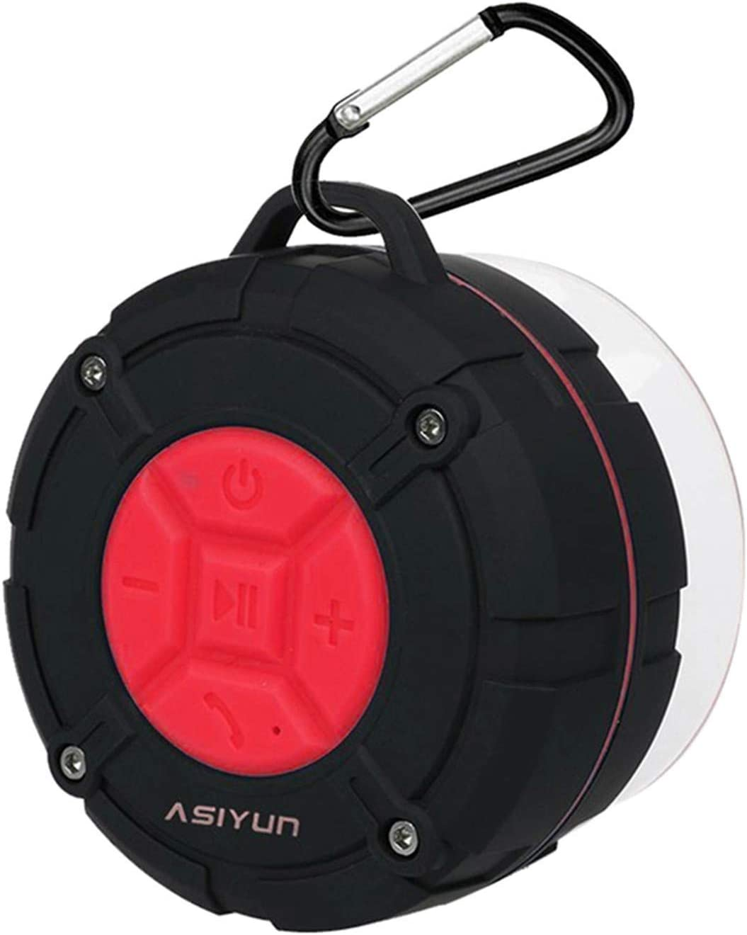 ASIYUN Shower Speaker, IPX7 Waterproof Bluetooth Speaker, Loud HD Sound, Portable Wireless Speaker with Suction Cup & Sturdy Hook, Built-in Mic, for Shower, Pool, Beach, Outdoor(Red)