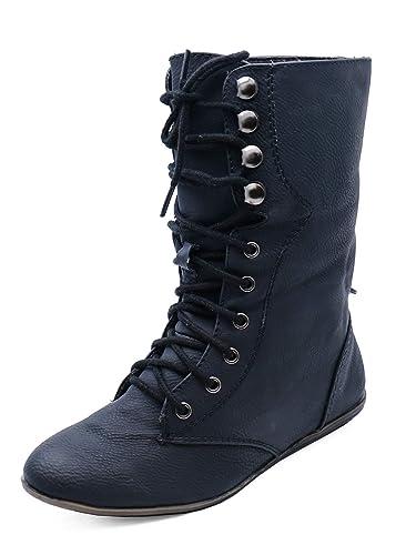 a0c1eb55ed HeelzSoHigh Girls Childrens Kids Flat Black Warm Military Calf Boots School Shoes  Sizes 11-3