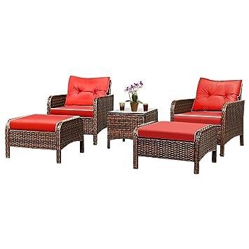 Tangkula - Conjunto de 5 muebles exteriores de mimbre con ...