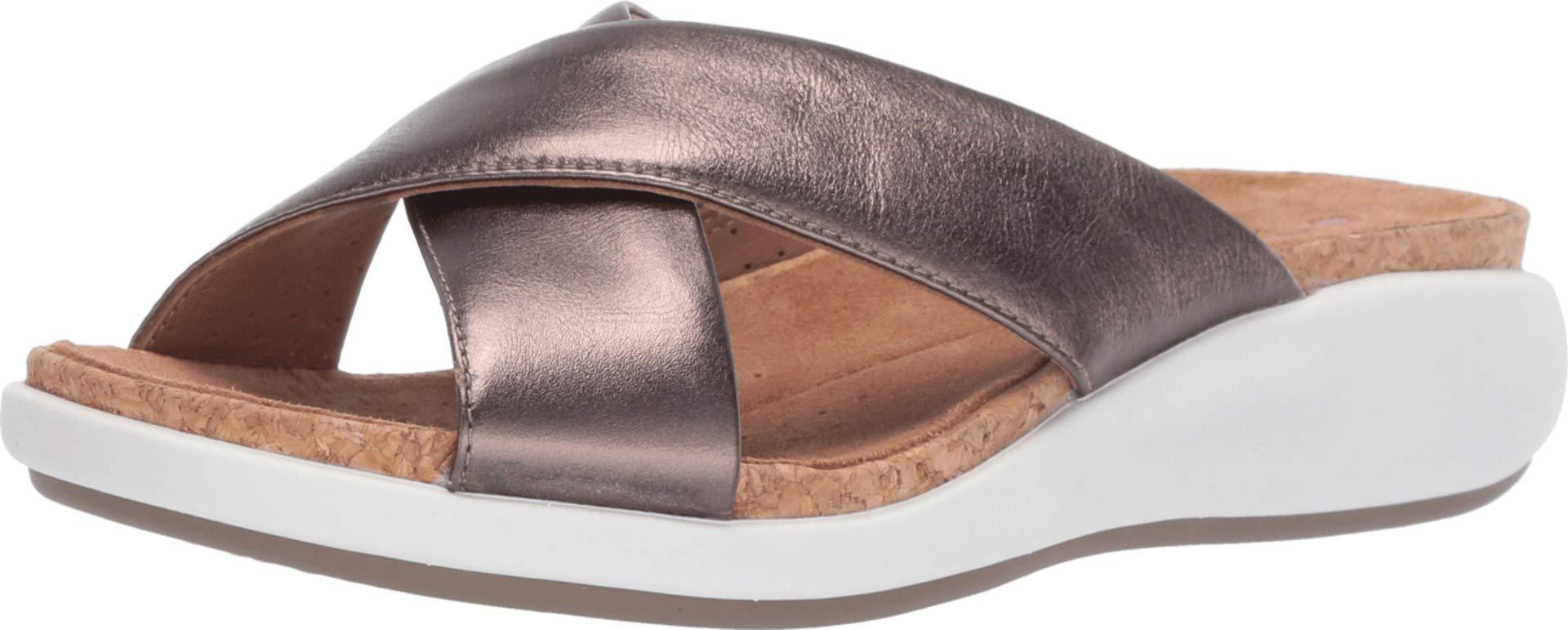 CLARKS Women's Un Bali Go Slide Sandal, Pebble Metallic Leather, 12 M US by CLARKS