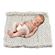 Play Tailor 19.6 x19.6  Chunky Knit Blanket for Newborn Baby Photography, Multi Use Chunky Yarn Chair Pad and Sofa Cushion (White)