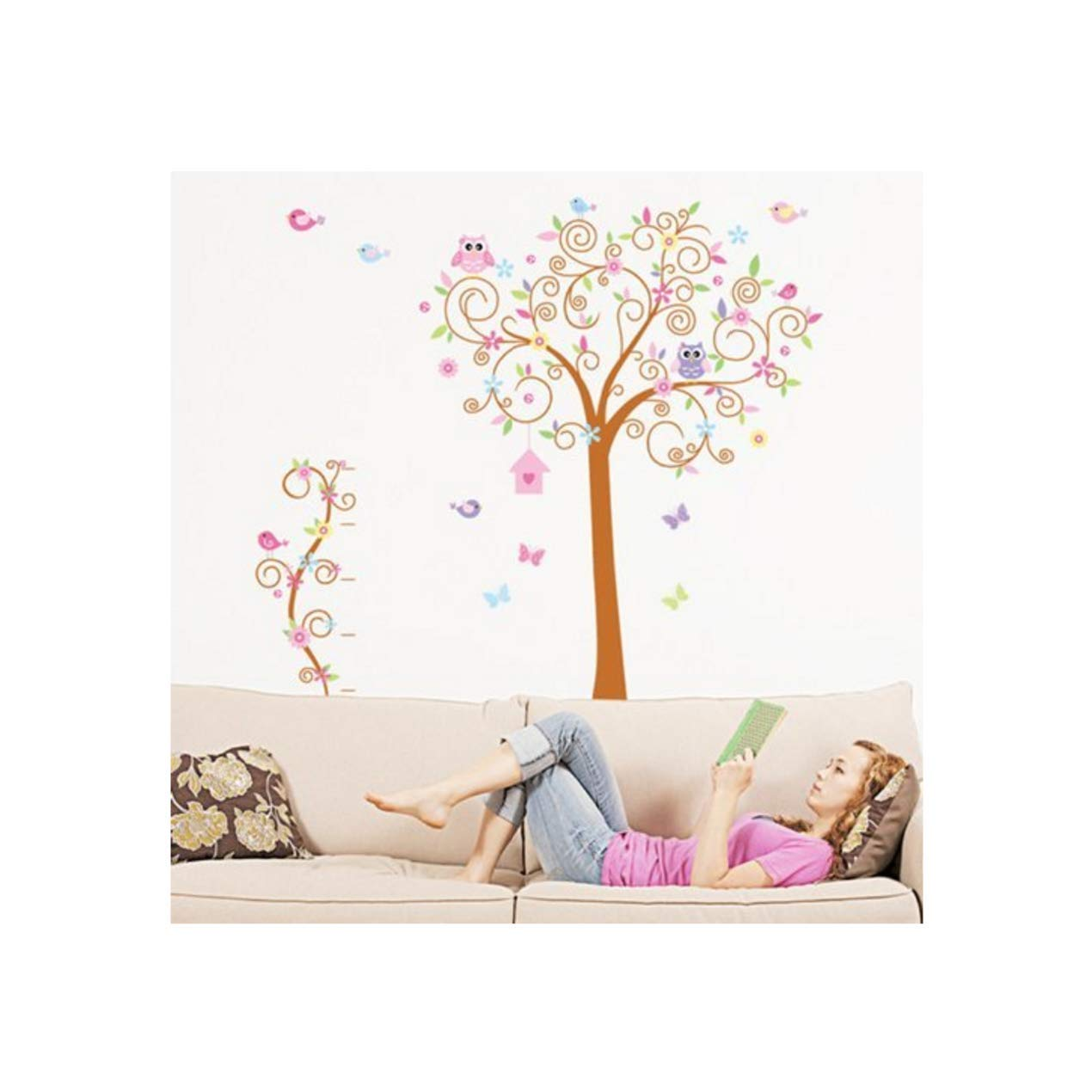 Domire Owls Birds Flower Tree Growth Chart Height Chart Wall Decal Decor Sticker Removable Wall Decal For Baby Boys and Girls Nursery Children's Bedroom Kids Room Stickers Home Decor