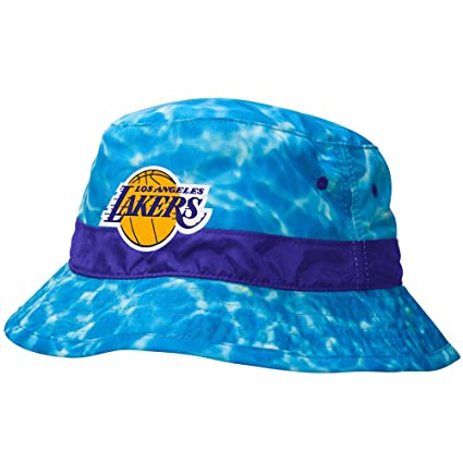 hot sale online a5161 e0695 Mitchell And Ness Los Angeles Lakers Camo Blue Bucket Hat Small Medium