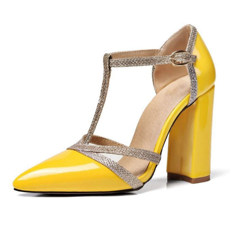 YELLOW shine-hearty Sexy Lady High Heel Sandals Women Ankle Strap Buckle Sandal Office Summer shoes Women Footwear