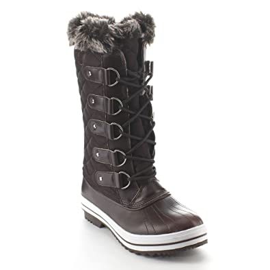 1b1702ff6fc Refresh Wind-02 Women s Lace Up Waterproof Quilted Mid Calf Weather Snow  Boots