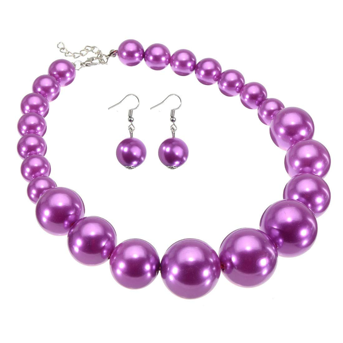Jerollin Women Ladies Vintage Resin Pendant Pearl Necklace Chain Collar Choker Fashion Bib Necklace and Earring Jewelry Set