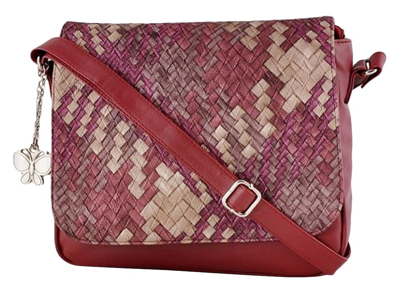Butterflies Designer Faux Leather Casual Women`s Handbag Shoulder Purse