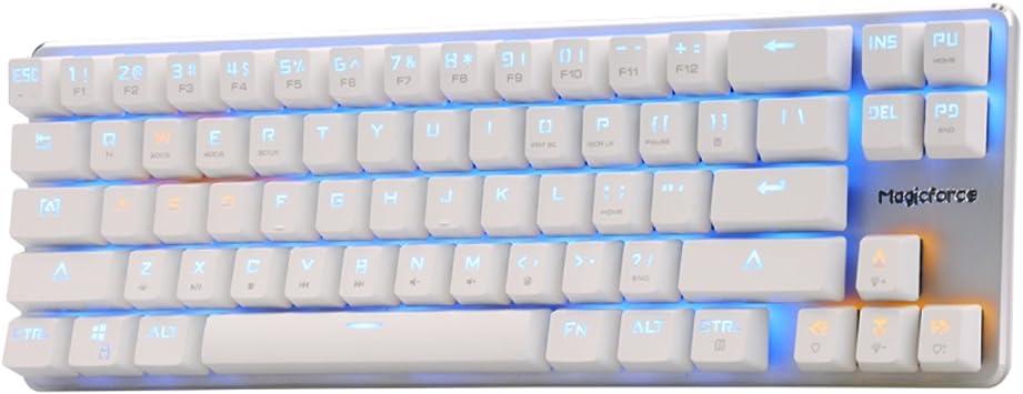 Qisan® Teclado De Juego Teclado Mecánico Retroiluminado Conmutador Negro 68-Teclas Mini Diseño (60%) White Magicforce