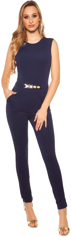 Firstclass Trendstore Elegante Overalls in versch modernen Styles /ärmellos Jumpsuit Hosenanzug Business B/üromode Abendmode Damen
