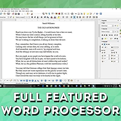 LibreOffice 2018 Software Office Suite DVD Word & Excel Compatible for Windows PC & Mac - Home and Business {Professional Bonuses, No Subscription}