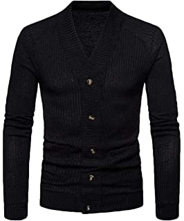 WAWAYA Mens Long Sleeve Solid Color Slim Fit Casual Button Up Cardigan Sweater