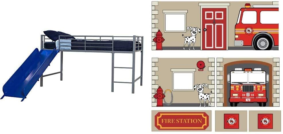 DHP Junior Twin Metal Loft Bed with Slide, Multifunctional Design, Silver with Blue Slide & Fire Department Design Curtain Set for Junior Loft Bed, Kids Furniture, Blue