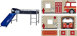 DHP Junior Twin Metal Loft Bed with Slide, Multifunctional Design, Silver with Blue Slide & Fire Department Design Curtain Set for Junior Loft Bed, Kids Furniture, Blue
